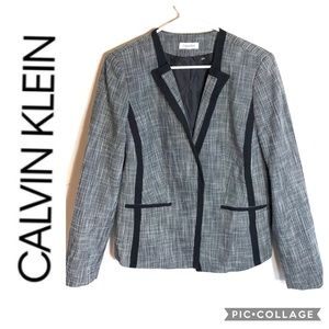 Calvin Klein Tweed Blazer Sz 16 Gray Black